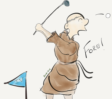 monk playing golf