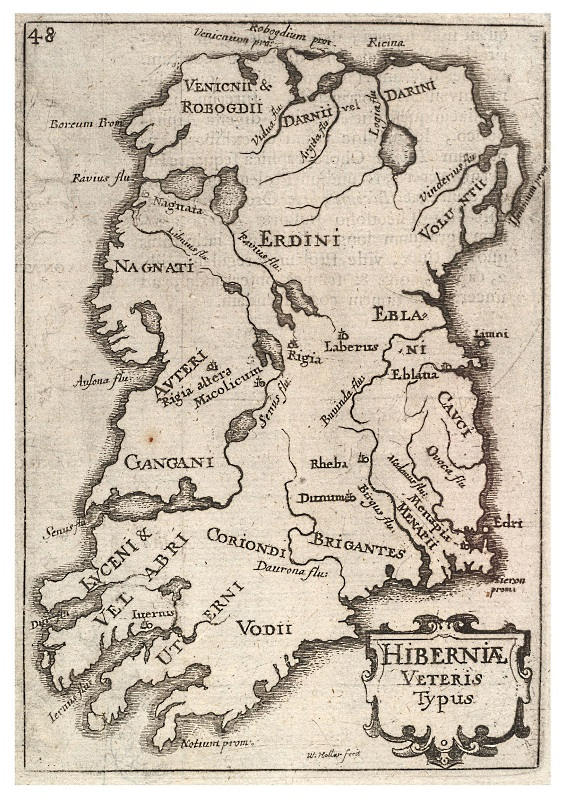 "Ptolemy's Hibernia, showing ""Dunum"" in the midlands"