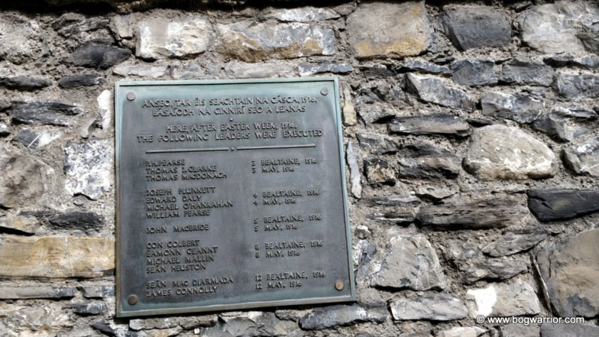 Plaque with the names and execution dates of the leaders of the 1916 Easter Rising