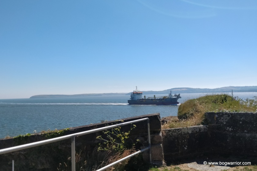 Ship sails past Duncannon Fort