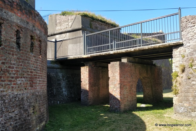 The entrance into the fort, as viewed from the dry moat