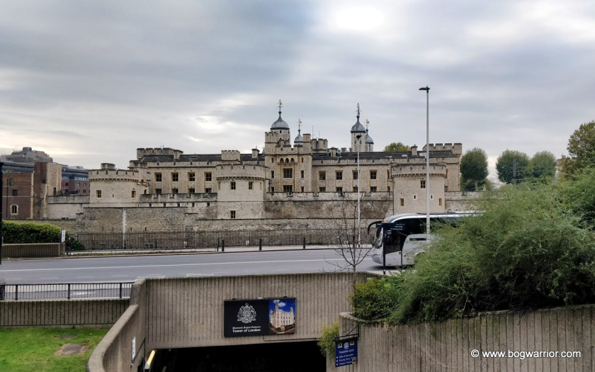 The Tower of London, as viewed from the nearby Tower Hill underground station
