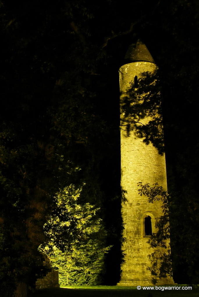 Timahoe round tower at night